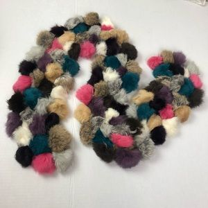 5/$25 Faux Fur Teal, Pink & Purple  Ball Scarf